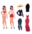 cartoon woman girl and her fashionable clothes vector image