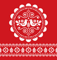 christmas scandinavian white and red folk design vector image