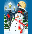 christmas winter cityscape snowman and trees vector image