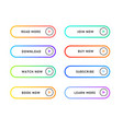color thin line button template set vector image
