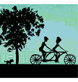 couple biking in the city vector image vector image