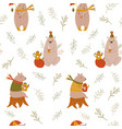 cute seamless pattern with funny bears vector image vector image