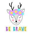 deer with floral wreath vector image