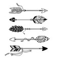 ethnic arrows hand drawn feather arrow tribal vector image