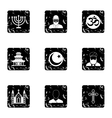 Faith icons set grunge style vector image vector image