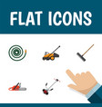 flat icon dacha set of hosepipe hacksaw lawn vector image vector image