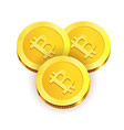 gold shiny coins with engraved bitcoin sign vector image vector image