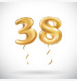 golden number 38 thirty eight metallic balloon vector image vector image