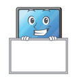 grinning with board lcd tv cartoon in living room vector image vector image