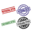 grunge textured professional edition stamp seals vector image vector image