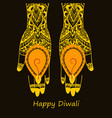 hands holding indian diya diwali festival vector image