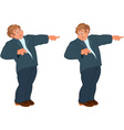 Happy cartoon man standing in blue suit and vector image vector image