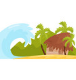 huge ocean wave near coast of tropical island vector image vector image