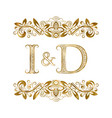 I and d vintage initials logo symbol the letters