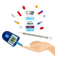 insulin bottle pills for diabetes and device vector image vector image