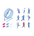 isometric set elements businessman running in a vector image