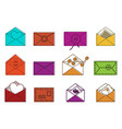 letter icon set color outline style vector image vector image