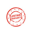 lifetime warranty stamp grunge sign or badge icon vector image