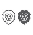 lion line and glyph icon animal and zoo cat sign vector image