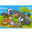 mustelids animals cartoon vector image
