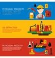 Oil Industry Banner Flat Set vector image vector image