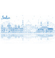 outline india city skyline with blue buildings vector image vector image