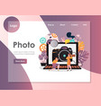 photo website landing page design template vector image vector image