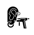 piercing black glyph icon vector image vector image