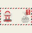 postal envelope with shrine itsukushima japan vector image vector image