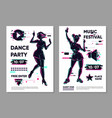 posters set with dancing girls dance festival vector image