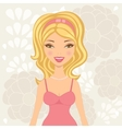 Pretty blond in pink lingerie vector image vector image