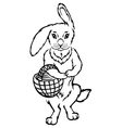 rabbit basket vector image vector image