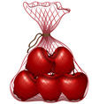 Red apples in the bag vector image vector image