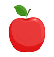red ripe apple with green leaf vector image