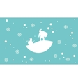 Scenery snowman and santa silhouettes vector image vector image