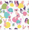 seamless pattern cute cartoon style animals on vector image vector image