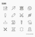 sewing equipment thin line icons set vector image