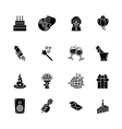 sixteen black computer icons isolated on white vector image vector image