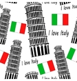 Sketch Pisa tower seamless pattern vector image