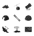 Ski resort set icons in black style Big vector image vector image