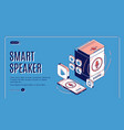 smart speaker landing on retro colored background vector image