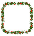 square frame with holly berry pine branch and vector image vector image