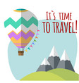 travel around the world balloon moutain background vector image vector image