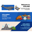 welcome to iceland icelandic cuisine and vector image
