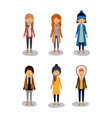 winter people background with women with coats and vector image