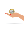 woman hand and euro coin vector image vector image