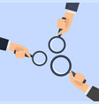 hands holding a magnifying vector image