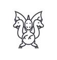 three headed dragon concept thin line ico vector image