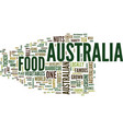 australia food text background word cloud concept vector image vector image