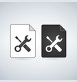 Black and white settings file icon isolated on